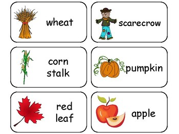 Fall themed printable Picture Word Flash Cards. Preschool