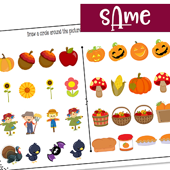 Fall themed same and different activities
