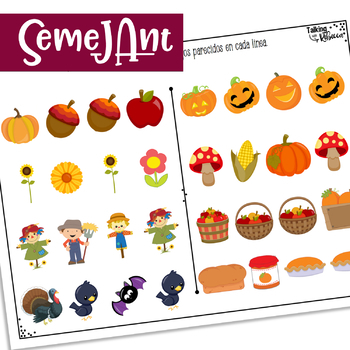 Fall themed same and different activities for Spanish Speech Therapy