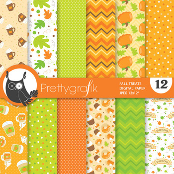 Fall treat papers, commercial use, scrapbook papers - PS820