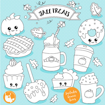 Fall treats stamps commercial use, vector graphics, images  - DS1019