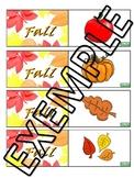 Fall vocabulary Memory/association game