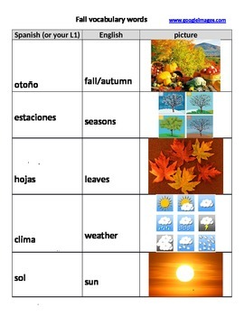 Fall vocabulary and reading passage