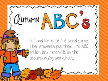 Fall word work/ literacy centers