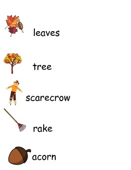 Fall words- copy and write