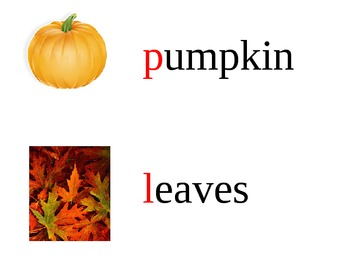 Fall words with Pictures