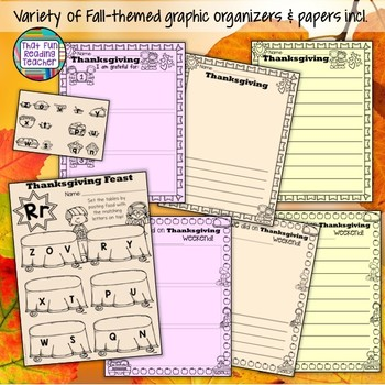 Fall, Thanksgiving, Halloween literacy activities!