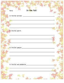 Fall writing activity!