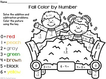 fall autumn color by number addition subtraction within 10 tpt