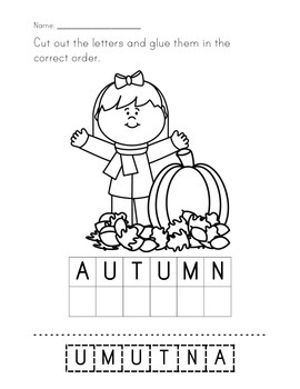 Fall/Autumn Letter Scrambles