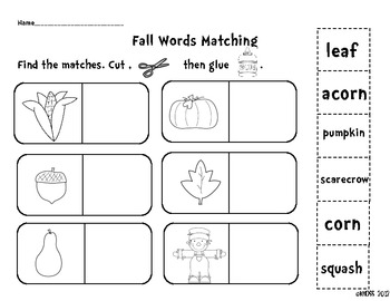 Fall/Autumn Literacy Activity Sheets or Center