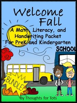 Fall/Autumn Math, Literacy, and Handwriting, PreK and Kindergarten BUNDLE!