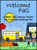 Fall/Autumn Math and Literacy Packet, PreK and Kindergarten