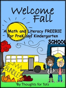 Fall/Autumn Math and Literacy, PreK and Kindergarten FREEBIE