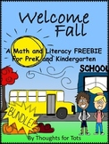 Fall/Autumn Math and Literacy, PreK and Kindergarten FREEBIE