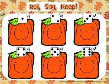 Fall/Autumn Roll, Say, Keep for Shapes, Letters, Numbers & More!