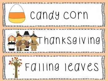 Fall/Autumn Season Write the Room
