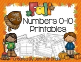 Fall/Autumn Theme Math Printables for Numbers 0-10  NO PREP!