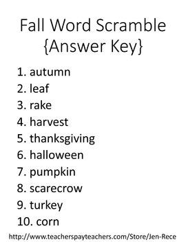 Free Downloads: Fall/Autumn Word Scramble