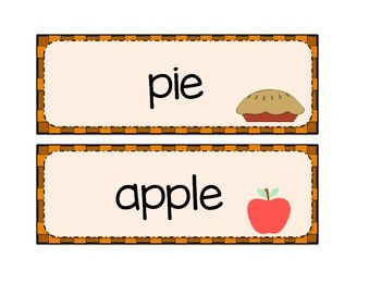 Fall/Autumn Word Wall {30 words} Kindergarten, Gr. 1,2,3