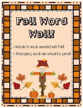 Fall/Autumn Word Wall {30 words} Kindergarten, Gr. 1,2,3