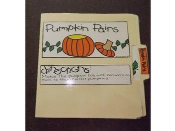 Fall/Halloween File Folder Games