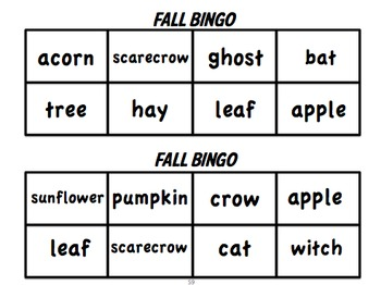 Fall/Halloween Literacy Activity Centers