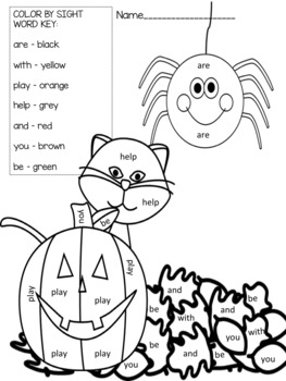 Fry's words! 10 pages! Fall/Halloween color by sight word ...