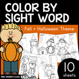 Fry's words! 10 pages! Fall/Halloween color by sight word.