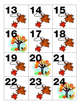 Fall/November Calendar Pieces Leaves Tree AAAB Pattern