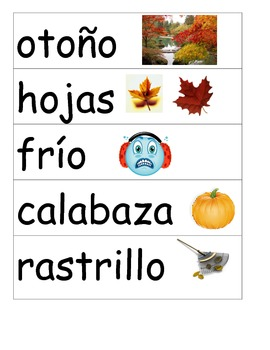 Fall/Otoño Word Wall Spanish