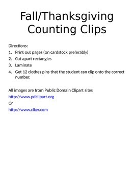 Fall/Thanksgiving Counting Clips
