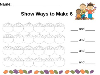 Fall/Thanksgiving Math Centers Prek-K