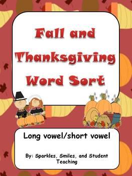 Fall/Thanksgiving Word Sort