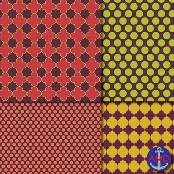 Fallen Leaves Quatrefoil, Chevron, Polka Dot & Striped Paper Pack