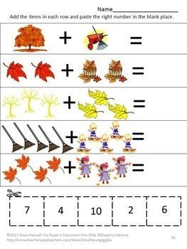 Fall Leaves Math Literacy Kindergarten Math Special Education Math Fine Motor