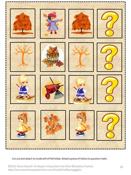 Autumn Leaves File Folder Games Special Education Kindergarten Fine Motor Skills