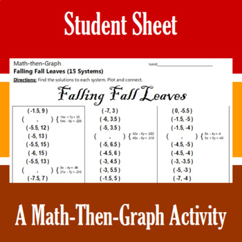 Falling Fall Leaves - A Math-Then-Graph Activity - Solve 15 Systems