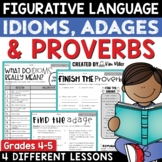 Idioms, Adages and Proverbs Figurative Language Worksheets and Activities