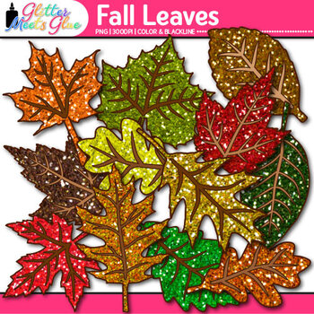 Autumn Leaf Clip Art: First Day of Fall Graphics {Glitter Meets Glue}