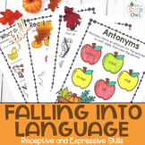 Fall No Prep Receptive and Expressive Language Worksheets and Homework