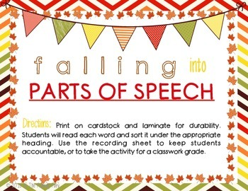 Falling Into Parts of Speech: Sorting Center
