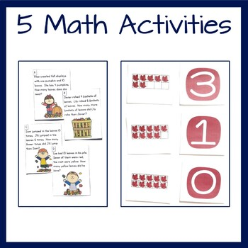 Falling Leaves Math Center Bundle- addition, subtraction, word problems