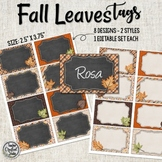 Falling Leaves Name Badge Tags - Cubby Tags, Coat Hook Tags