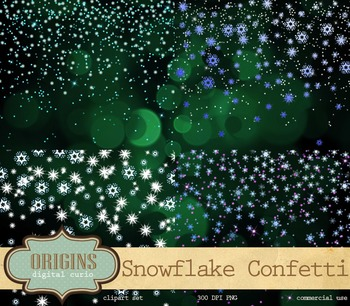 Falling Snowflakes Clipart Sparkling Bokeh Overlays