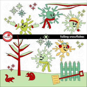 Falling Snowflakes Story Elements Clipart by Poppydreamz