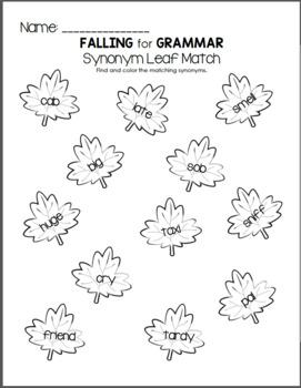 Falling for Grammar - Synonym and Antonym Pack