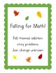 Falling for Math! Fall Themed Addition Story Problems