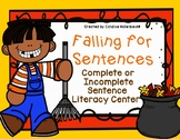 Falling for Sentences- A fall themed complete and incomple