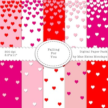 "Valentine's Day Digital Papers - ""Falling for You"""